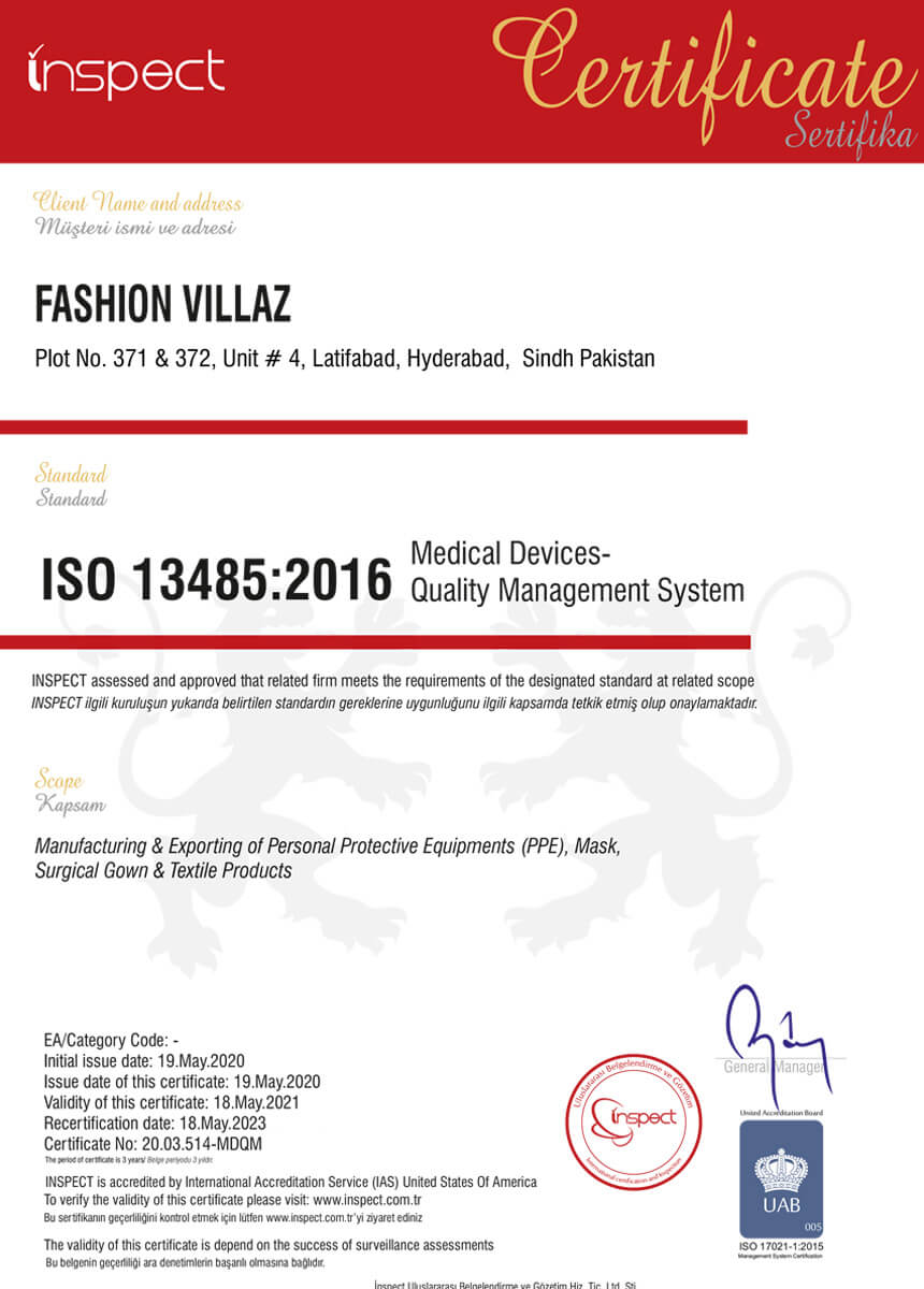 fvsurgical ISO 13485:2016 certification