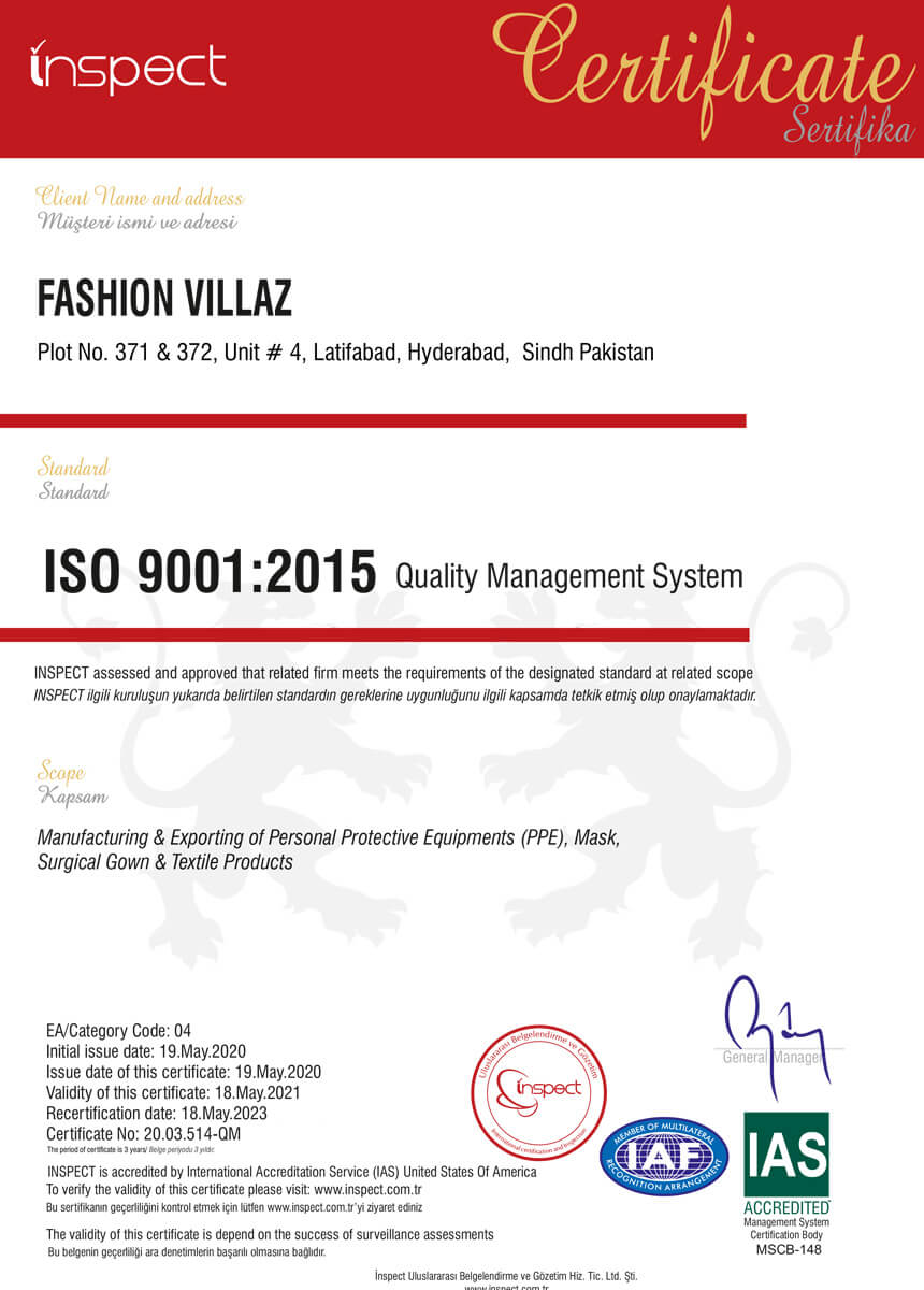 fvsurgical ISO 9001:2015 certification