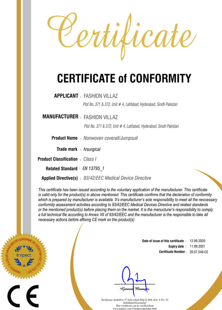 Nonwoven coverall Jumpsuit ce certification fvsurgical Pakistan